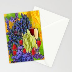Strawberries, Grapes & Wine Still Life Harvest Stationery Cards