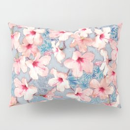 Shabby Chic Hibiscus Patchwork Pattern in Pink & Blue Pillow Sham