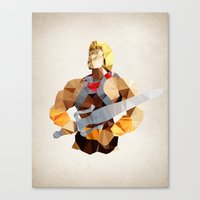 he man Canvas Prints featuring Polygon Heroes - He-Man by PolygonHeroes