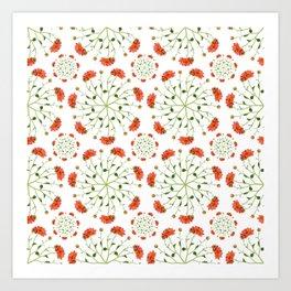 Coral Mum Floral Pattern - Realistic Flowers - Chrysanthemum Bloom Patterns Art Print