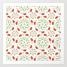 Coral Mum Floral Pattern - Realistic Flowers - Chrysanthemum Bloom Patterns Art Print