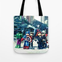 avenger Tote Bags featuring Avenger - Vengadores by Marivi Troy