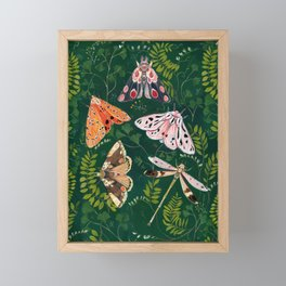 Moths and dragonfly Framed Mini Art Print