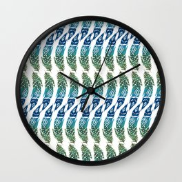green and blue tribal feather Wall Clock