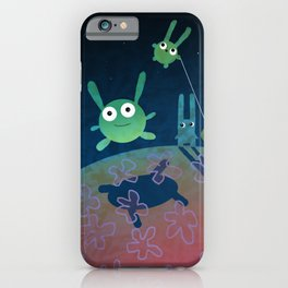 """planet of green bunnies, illustration from my book """"Bunny Who Felt Different"""" iPhone Case"""
