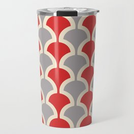 Classic Fan or Scallop Pattern 417 Gray and Red Travel Mug