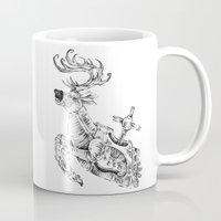 clockwork Mugs featuring clockwork deer by vasodelirium