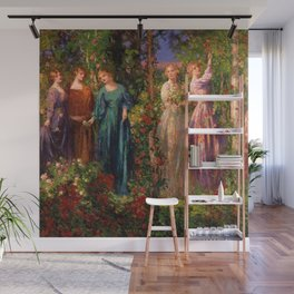 Rose Garden Tapestry Gather Ye Rosebuds While Ye May by Thomas Edwin Mostyn Wall Mural