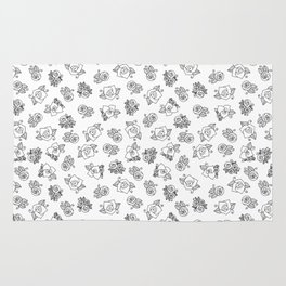 Simple Linework Roses - Black and White Rug