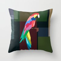 parrot Throw Pillows featuring parrot by mark ashkenazi