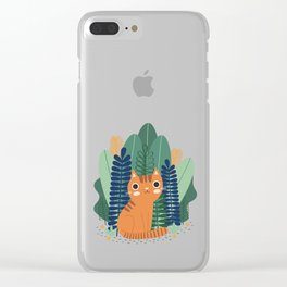 Orange Garden Cat Clear iPhone Case
