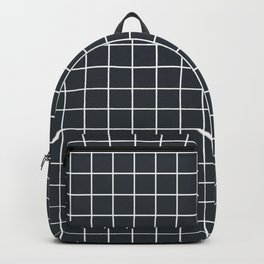 Gunmetal - grey color - White Lines Grid Pattern Backpack