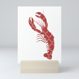 LOBSTER SILHOUETTE WITH PATTERN Mini Art Print