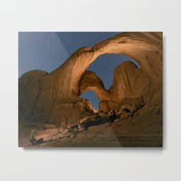 Double Arch And The Milky Way - Arches National Park - Moab, Utah. Metal Print