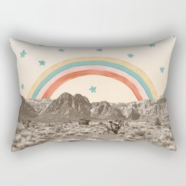 Canyon Desert Rainbow // Sierra Nevada Cactus Mountain Range Whimsical Painted Happy Stars Rectangular Pillow