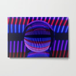Red and Blue in the glass ball Metal Print