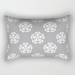 Gray Floral Checkered geometric pattern Rectangular Pillow