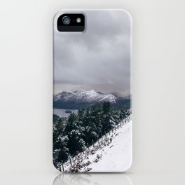 Views of Derwent Water from Latrigg, covered in snow. Cumbria, UK. iPhone Case