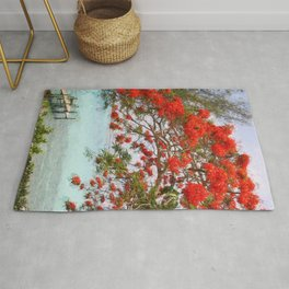 Wasting Away in Margaritaville - Key West, Straits of Florida landscape painting with Royal Poinciana blossoms Rug