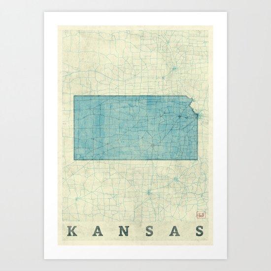 Kansas State Map Blue Vintage Art Print