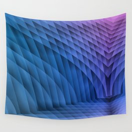 Geometric Path Blue-Pink Wall Tapestry