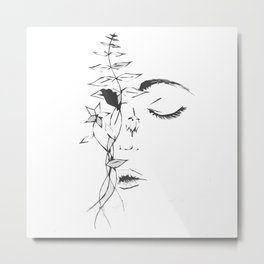 Abstract Floral Face Metal Print