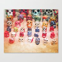 sugar skulls Canvas Prints featuring Sugar Skulls by Jenndalyn