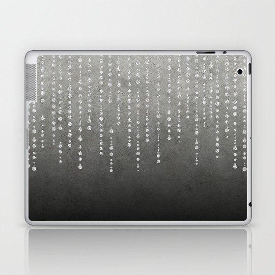 Silver Glamour Faux Glitter on grey Texture Laptop & iPad Skin