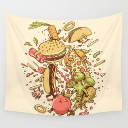 Food Fight Wall Tapestry