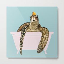 Sea Turtle in Bathtub Metal Print