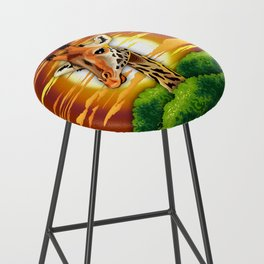 Giraffe on Wild African Savanna Sunset Bar Stool