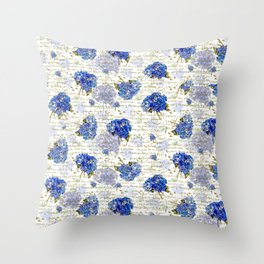 Cape Cod Hydrangeas & Gold French Script Throw Pillow