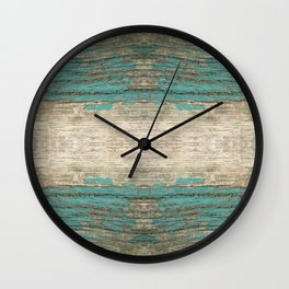 Rustic Wood - Weathered Wooden Plank - Beautiful knotty wood weathered turquoise paint Wall Clock