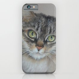 Tabby cat Maine Coon portrait Pastel drawing on the grey background iPhone Case