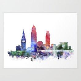 Watercolor Cleveland skyline Art Print