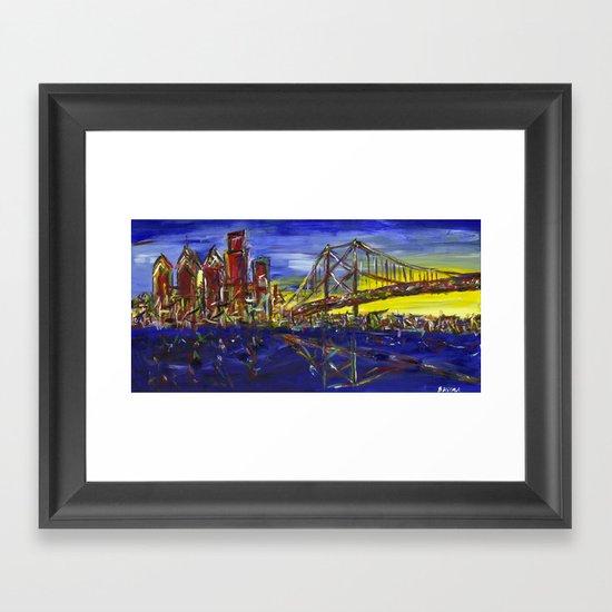 Philly Skyline with Ben Franklin Bridge Framed Art Print