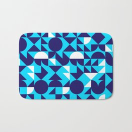 geometric blue Bath Mat