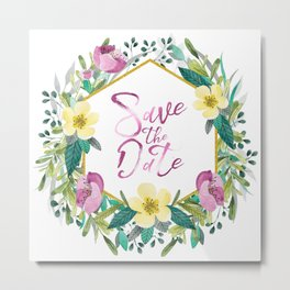 Colorful flowers wreath, Save the date Typography Metal Print