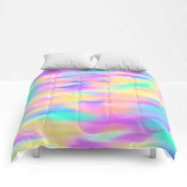 Colorful aqua pink yellow abstract brushstrokes Comforters