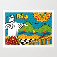 rio de janeiro Art Prints featuring Rio de Janeiro 2015 by Monica Fuchshuber