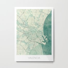 Valencia Map Blue Vintage Metal Print