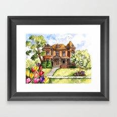 Victorian Mansion in the Spring Framed Art Print
