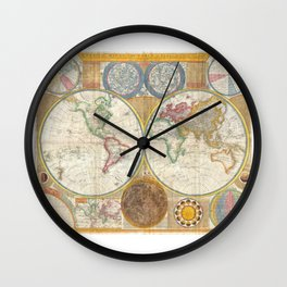 1794 Vintage World Map Samuel Dunn Wall Clock