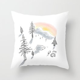 The little campsite Throw Pillow