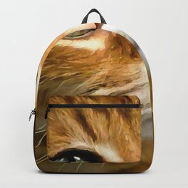 Adorable Ginger Tabby Cat Posing Backpack