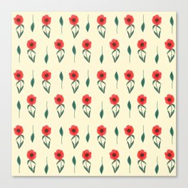 Red Poppies Spring pattern with pale yellow background Canvas Print