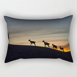 Africa sunset with goats Rectangular Pillow