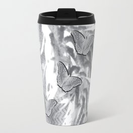Butterflies in a gray abstract landscape Travel Mug