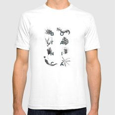 Botanica Letters | Forest Green White SMALL Mens Fitted Tee