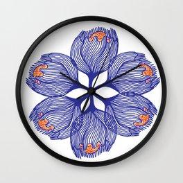 Blue spiral flower Wall Clock